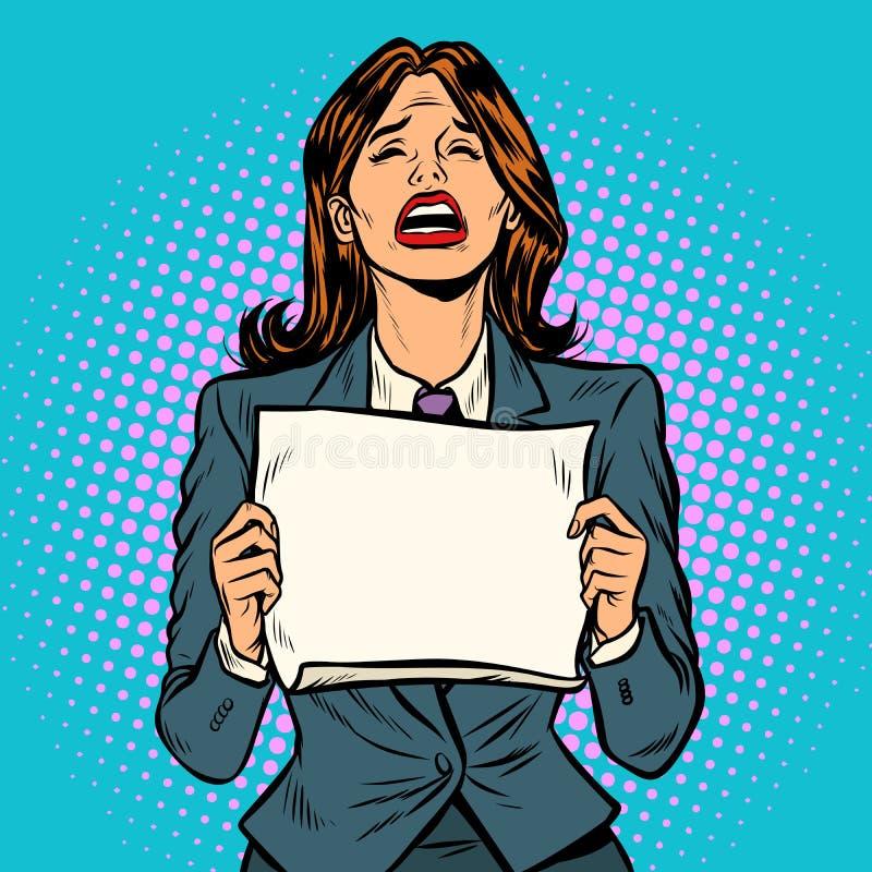 Tablero en blanco gritador de la mujer libre illustration