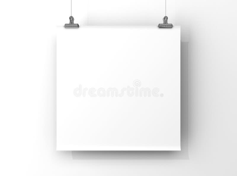 Tablero en blanco, marco de la foto, marco de la foto de la pared stock de ilustración