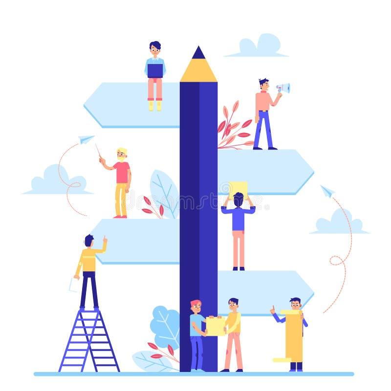 Tablero enorme de la tarea con los pequeños trabajadores del equipo que planean estilo plano de la historieta del proyecto libre illustration