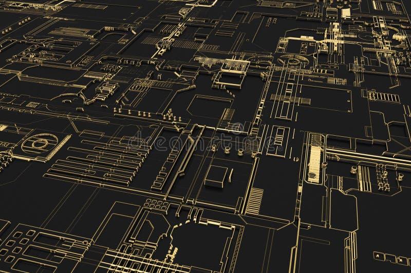 Tablero futurista del ordenador stock de ilustración