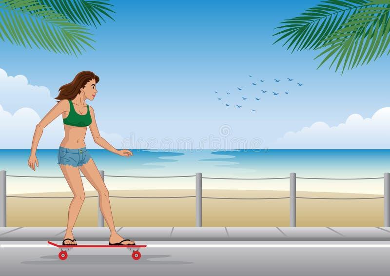 Tablero largo del montar a caballo de la muchacha en la playa stock de ilustración