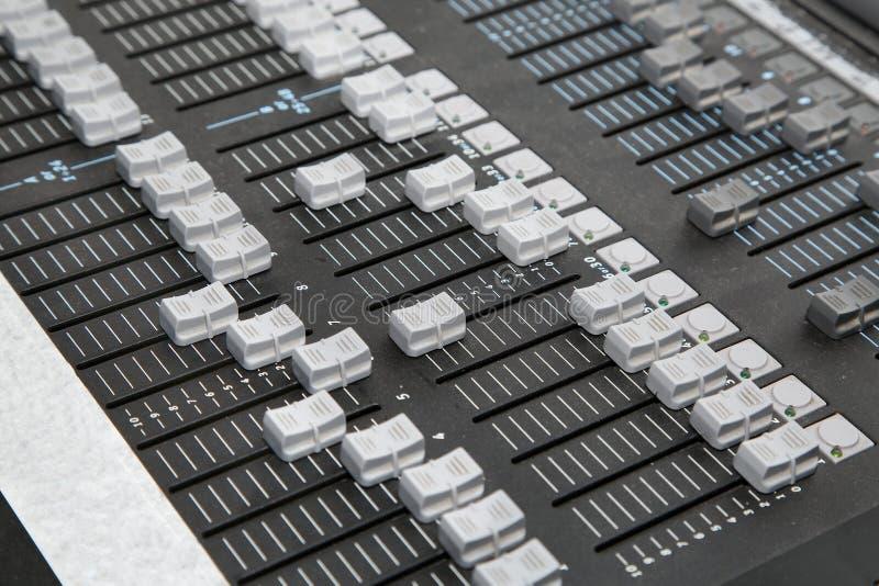 Tablero ligero del mezclador del regulador fotografía de archivo