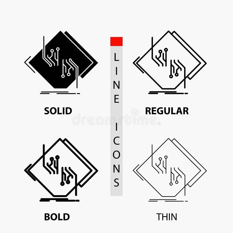 Tablero, microprocesador, circuito, red, icono electrónico en línea y estilo finos, regulares, intrépidos del Glyph Ilustraci?n d libre illustration
