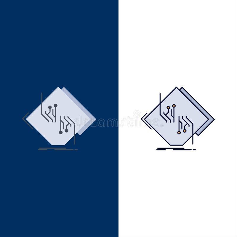 Tablero, microprocesador, circuito, red, vector plano electrónico del icono del color ilustración del vector