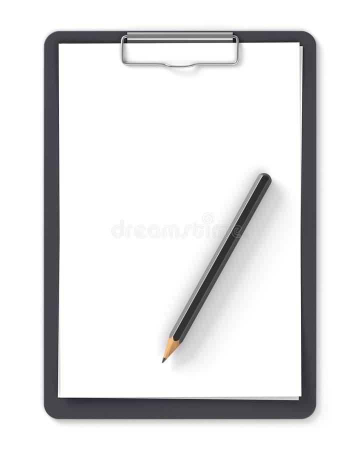 Tablero negro con el lápiz y las hojas de papel en blanco stock de ilustración
