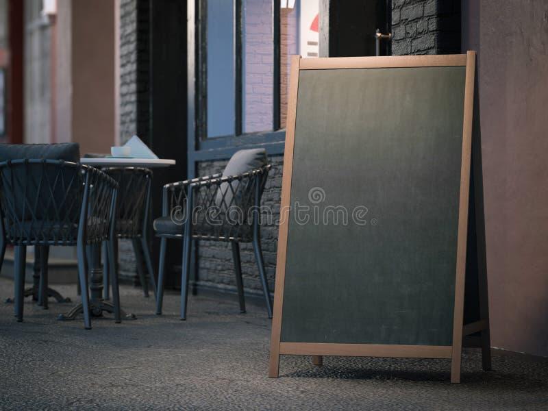 Tablero negro en blanco del menú en la acera representación 3d fotografía de archivo libre de regalías