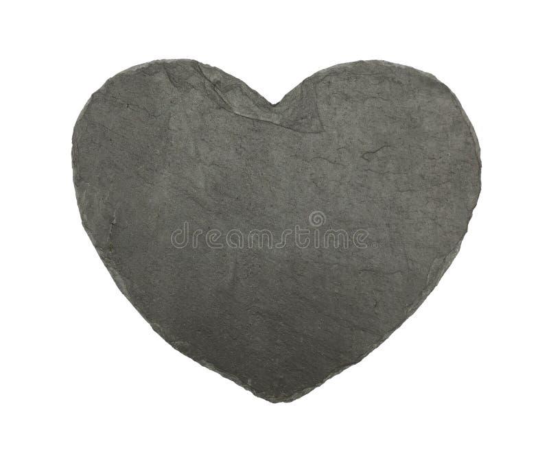 Tablero negro en forma de corazón de la pizarra aislado en blanco fotografía de archivo