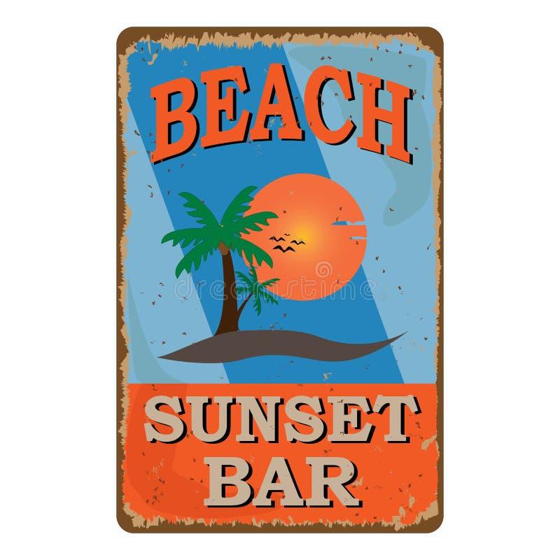 Tablero oxidado da?ado retro de la muestra de la barra de la playa Anuncio del vintage para la barra tropical del caf? Sun, veran ilustración del vector