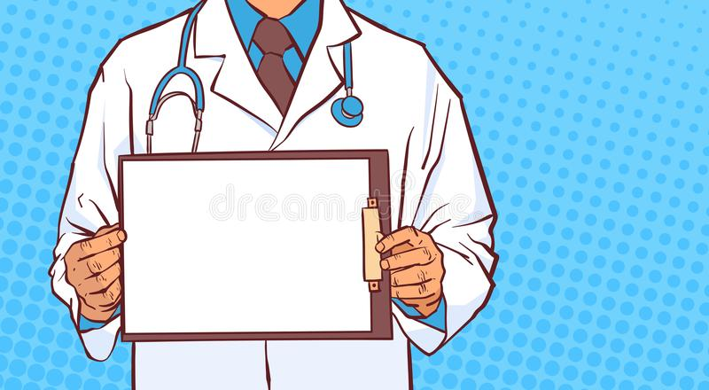 Tablero Prectitioner masculino del doctor Hold Empty Medical en el primer blanco de la capa sobre fondo punteado cómico ilustración del vector