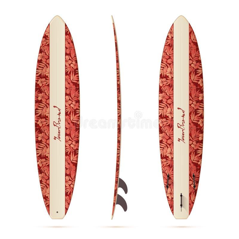 Tablero que practica surf realista de malibu del vector del estilo del vintage mini ilustración del vector