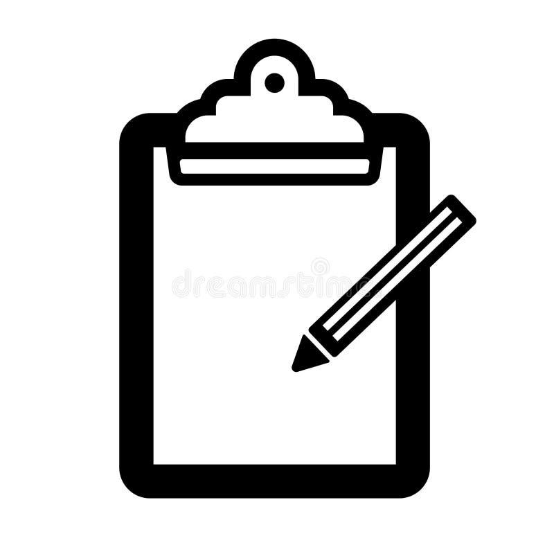 Tablero simple con un icono del lápiz Rebecca 36 Aislado en blanco stock de ilustración