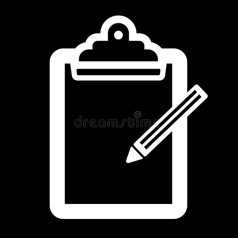 Tablero simple con una silueta del blanco del icono del lápiz Aislado en negro libre illustration