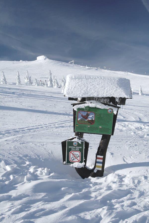 Tablero sitiado por la nieve de la información imágenes de archivo libres de regalías