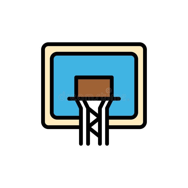 Tablero trasero, cesta, baloncesto, icono plano del color del tablero Plantilla de la bandera del icono del vector stock de ilustración