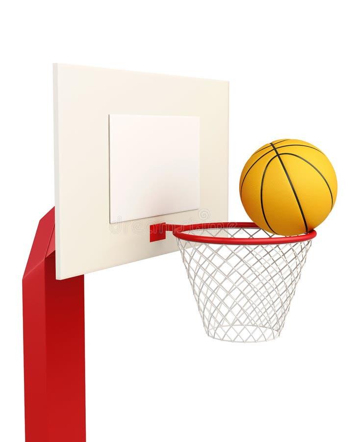 Tablero trasero de baloncesto aislado en el fondo blanco representación 3d stock de ilustración