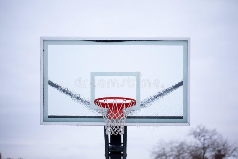 tablero trasero de baloncesto del hielo imagen de archivo