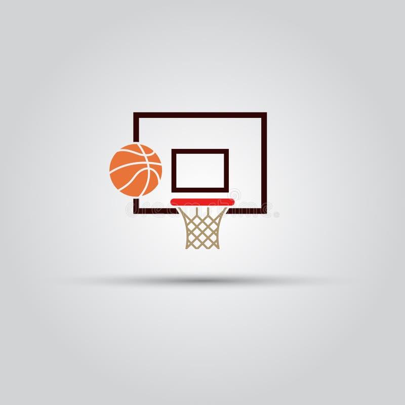 Tablero trasero de baloncesto y muestra coloreada bola del vector stock de ilustración