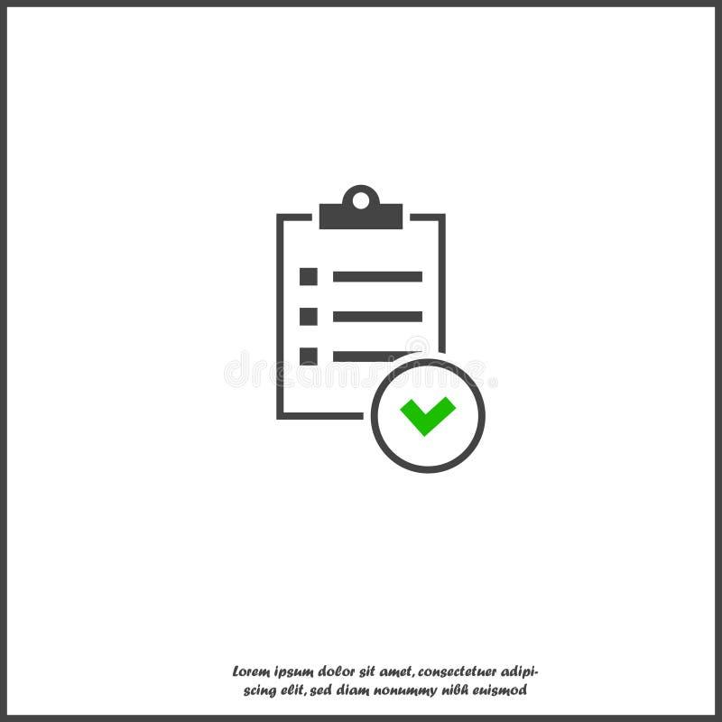 Tablero y lista de control del vector con las marcas de cotejo Tableta del negocio con un formulario de inscripci?n terminado en  ilustración del vector