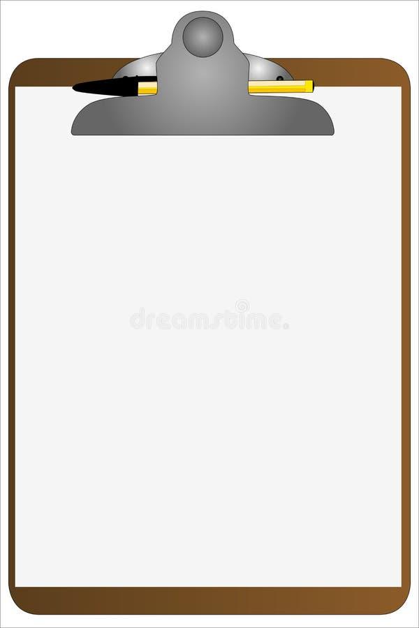 Tablero y pluma ilustración del vector