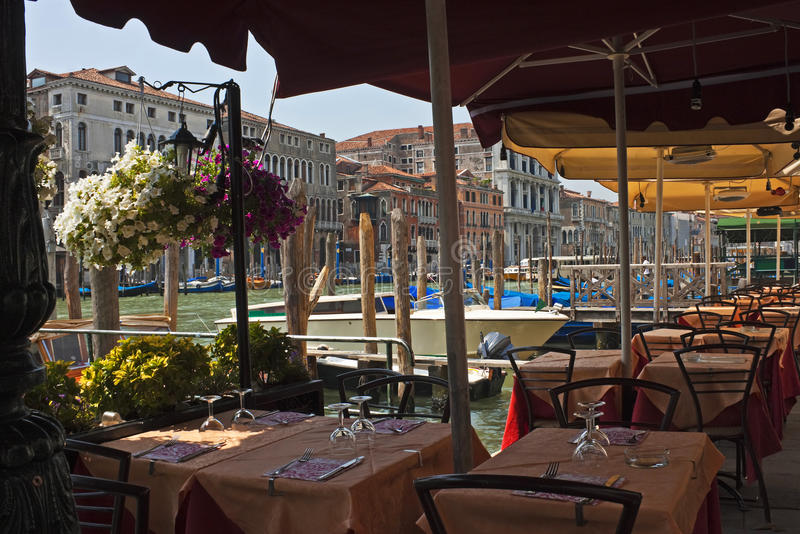 Tables along the Grand Canal, Venice stock image