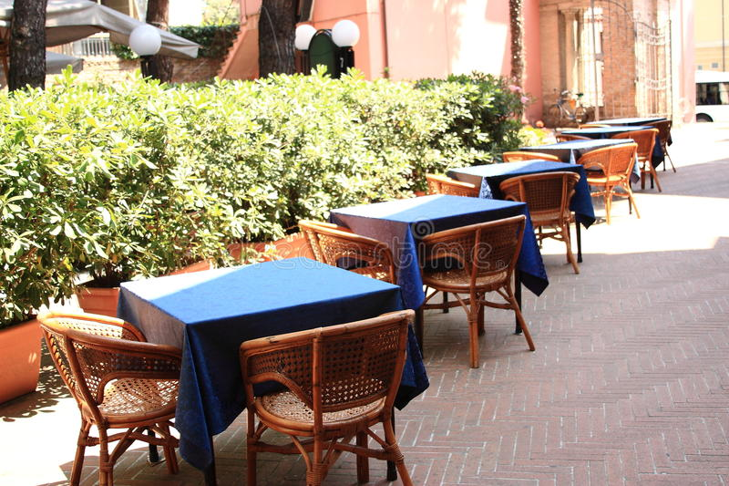 Tables with blue tablecloth