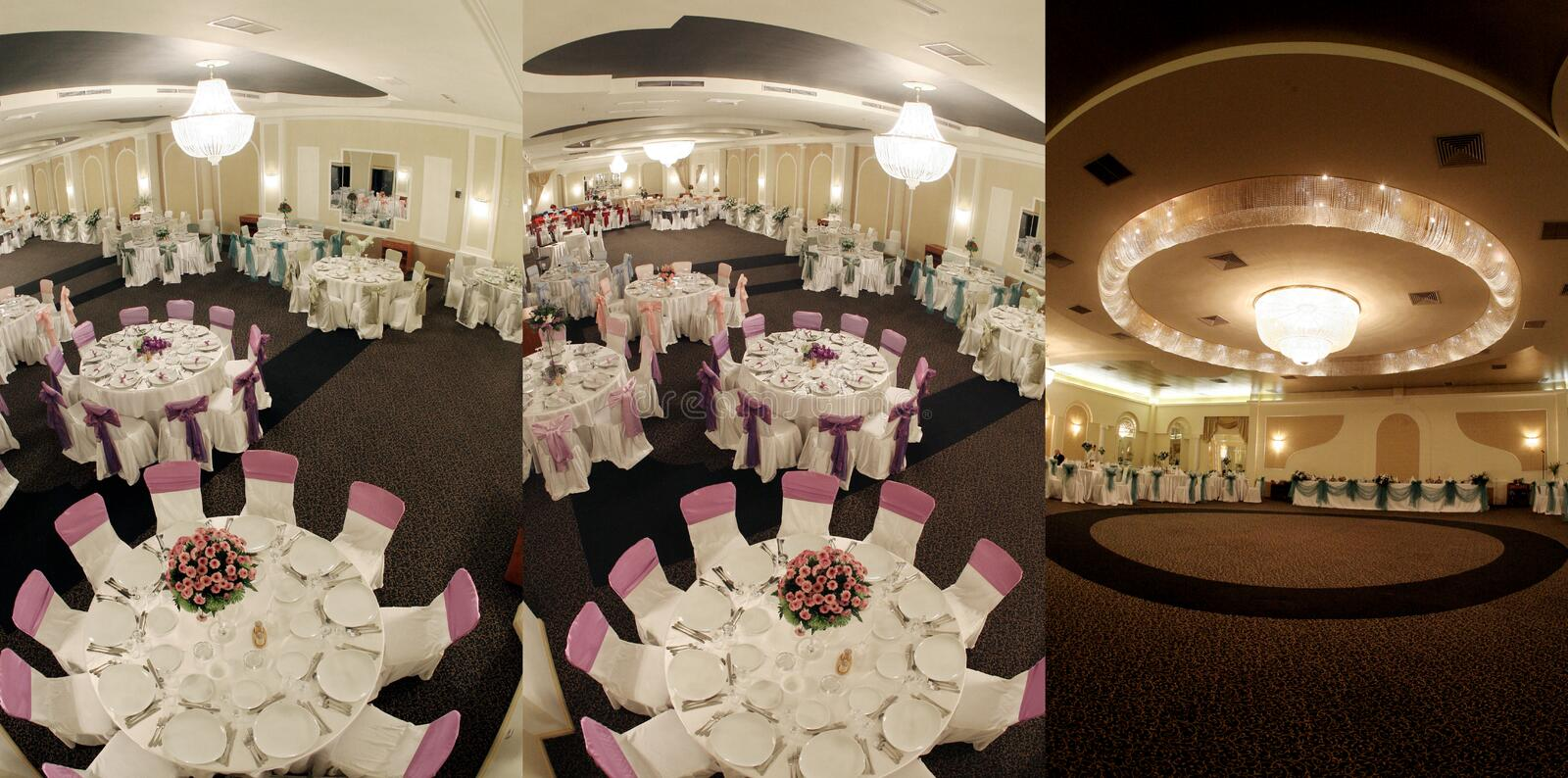 Tables seen from above, ready for wedding, screen split in three parts, collage royalty free stock photos
