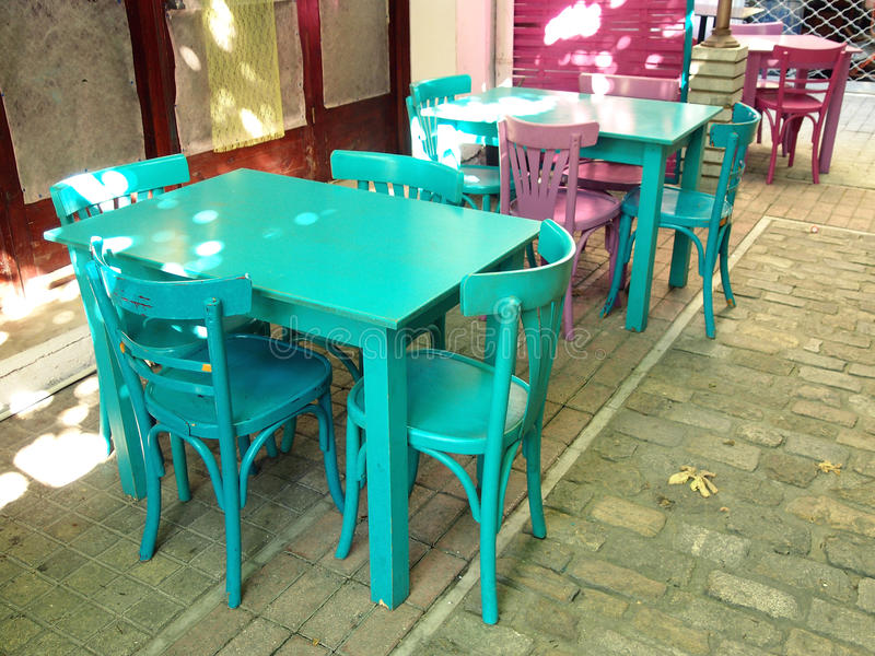 Download Tables and chairs stock photo. Image of colorful, greece - 32046286