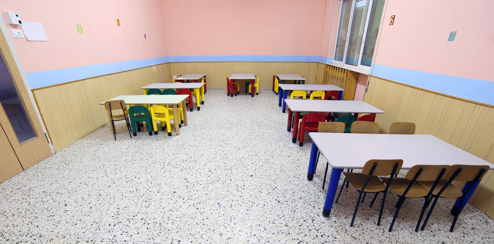 Download Tables And Chairs In The Dining Room Of Nursery Canteen Stock Photo