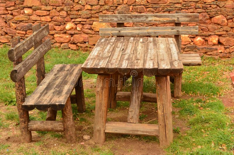 Tables And Chairs Typical Of Previous Centuries In A Picturesque Village With Its Black Slate Roofs In Madriguera. Architecture Va. Cation Travel Rural Life royalty free stock image