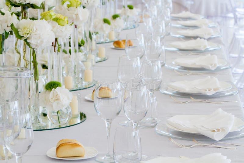 Wedding reception tablest stock image