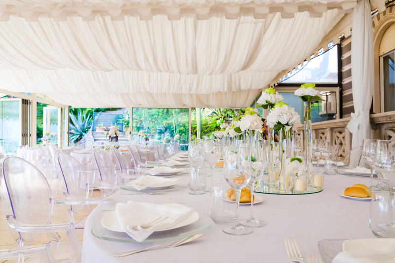 Wedding reception tables. Tables decorated for a party or wedding reception royalty free stock image