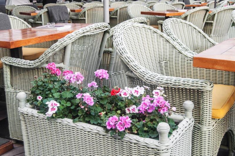 Tables et chaises en osier en café de rue images libres de droits