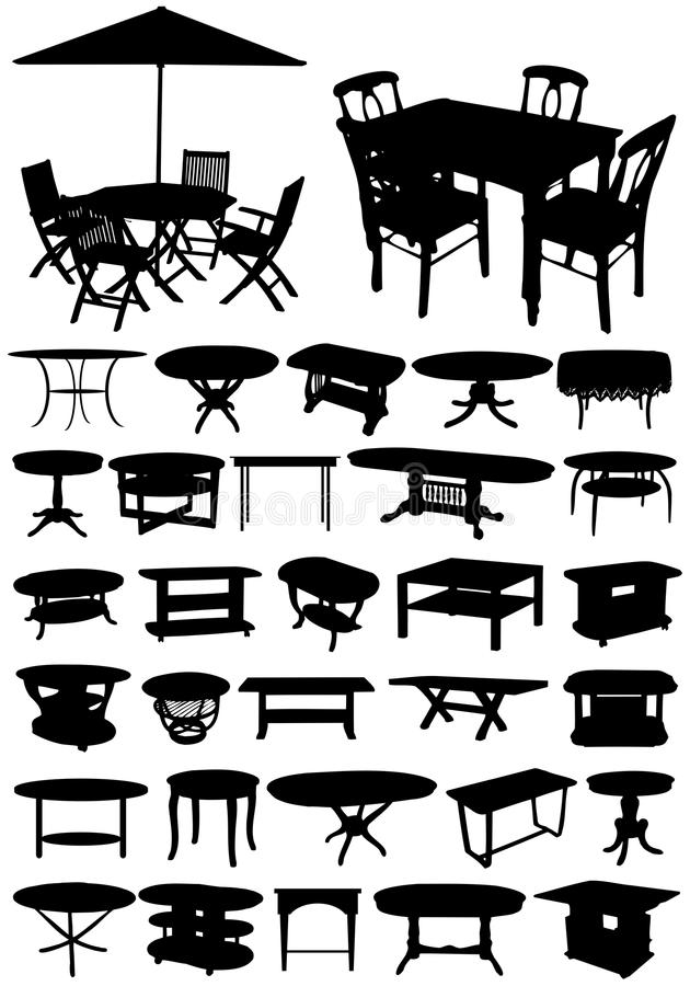 Tables. Image different types of tables for office and home, garden and living room. And also, the tables are classic and modern variants royalty free illustration