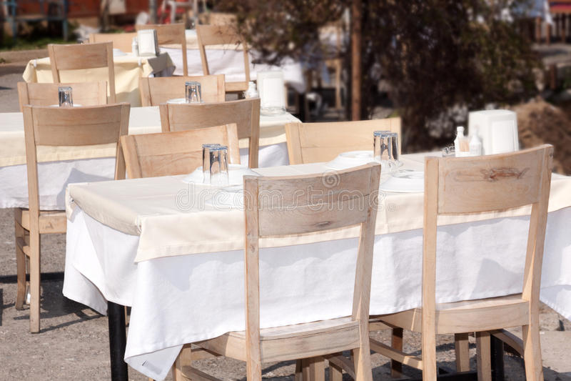 Tables outside royalty free stock images