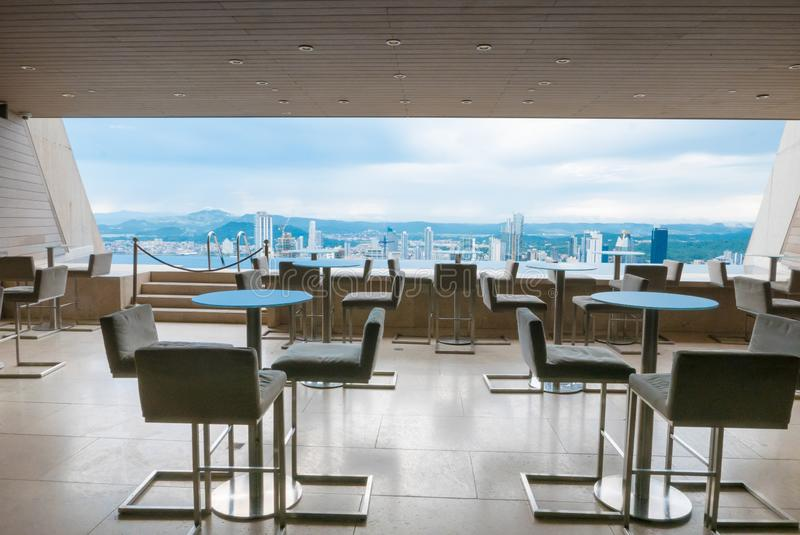 Tables with panoramic view on Panama City royalty free stock image