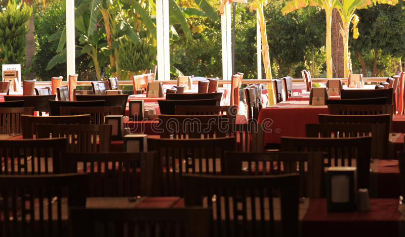 Tables ready for serving in hotel restaurant stock photos