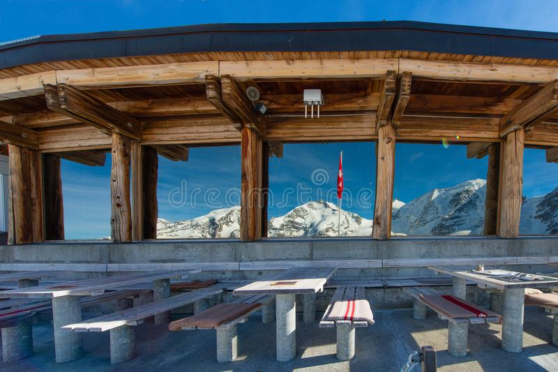 Tables of the restaurant at high altitude with the view of the l royalty free stock photography