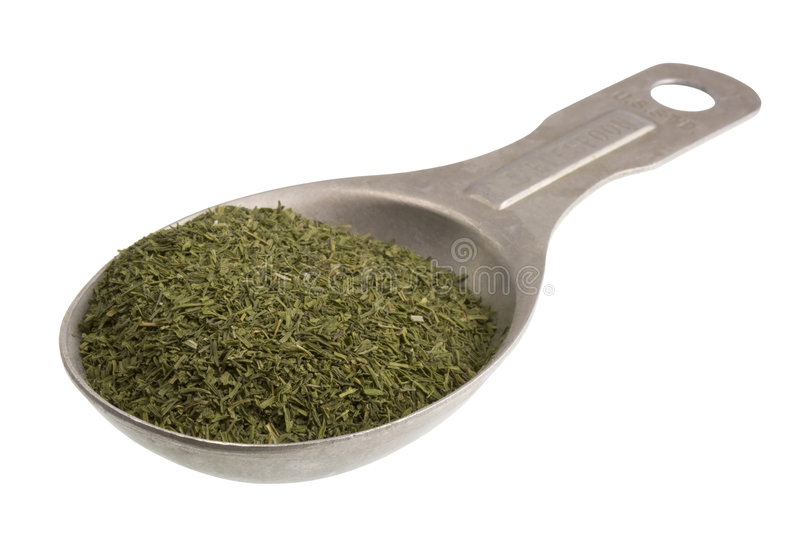 Tablespoon of dried dill weed. S isolated on white, clipping path included royalty free stock photos