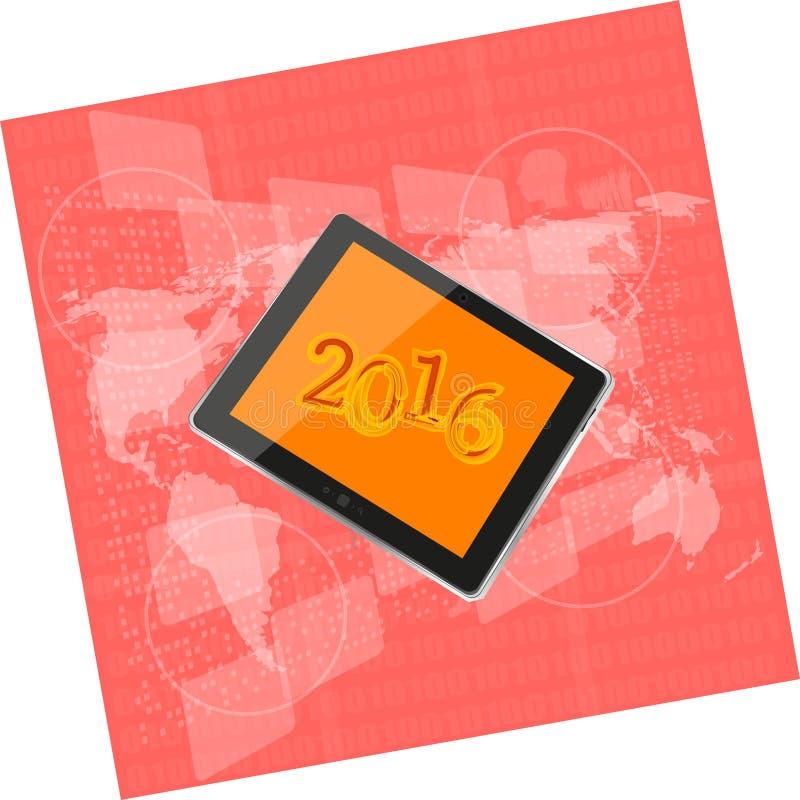 Tablet ПК или умный телефон на экране касания дела цифровом, карте мира, счастливой концепции 2016 Нового Года иллюстрация вектора