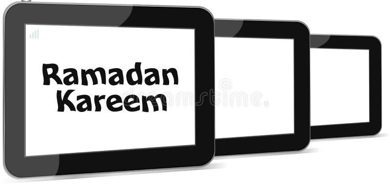 Tablet ПК с словом kareem ramadan на ем иллюстрация вектора