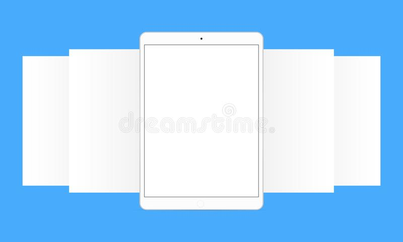 Tablet with app screens. Tablet app screen mockup. Blank wireframing screens. Web-design concept - template to create and showcase your mobile ui kit. Vector stock illustration