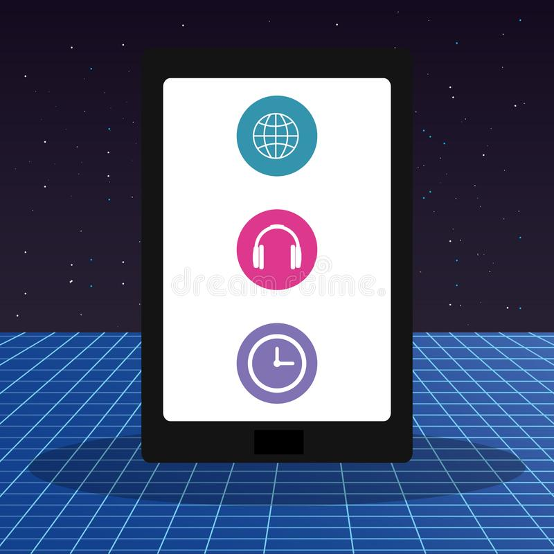 Tablet with applications menu. Vector illustration design royalty free illustration
