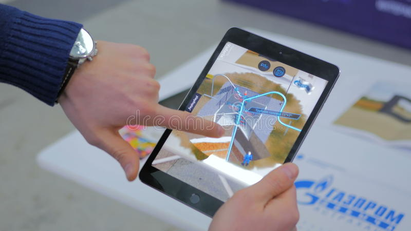 Tablet augmented reality app stock photos