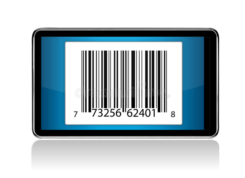 Tablet With Barcode Illustration Stock Photos