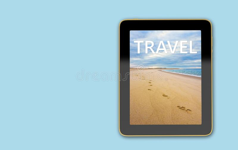 Tablet with beach scene on display - Footsteps in the sand royalty free illustration