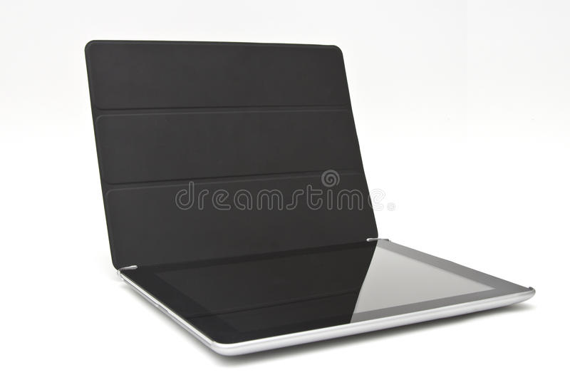 Tablet with black cover. On a white background royalty free stock photo