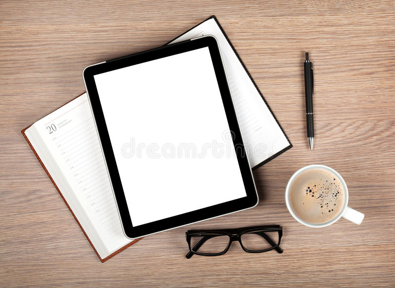 Download Tablet With Blank Screen And Coffee Cup Stock Photo - Image: 34312758