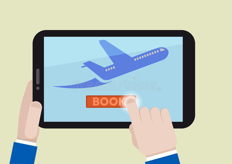 Tablet book flight. Minimalistic illustration of booking a flight ticket on a mobile device stock illustration