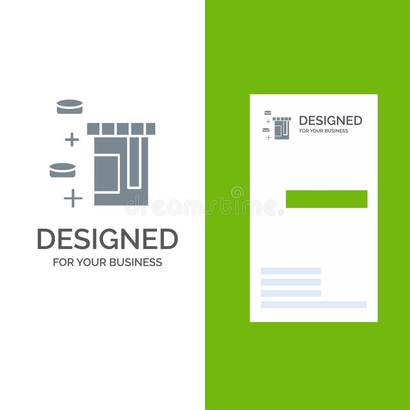 Tablet, Bottle, Healthcare Gray Logo Design and Business Card Template ilustração royalty free