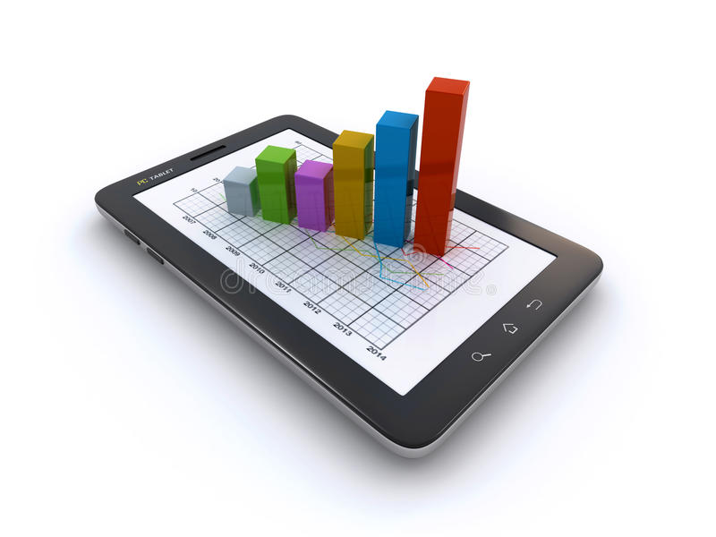 Download Tablet and business graph stock illustration. Image of result - 33117384